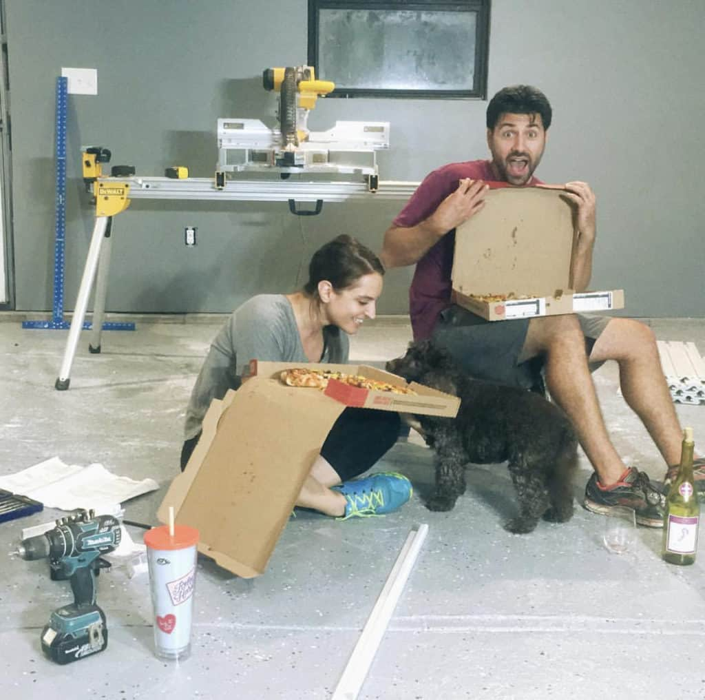 Couple Eating Pizza During a Home Renovation