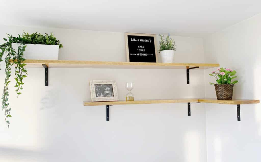 live edge wooden shelves styled with decor and plants