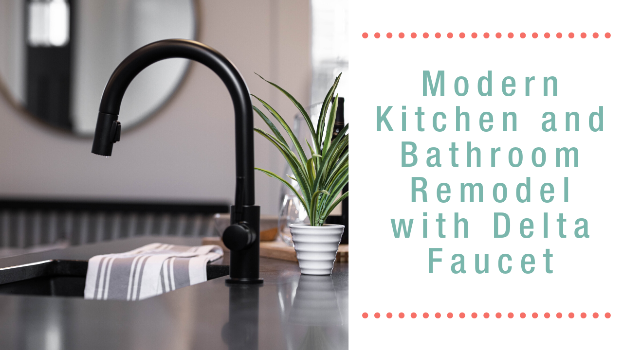 Matte Black Trash Delta Faucet in a modern kitchen.