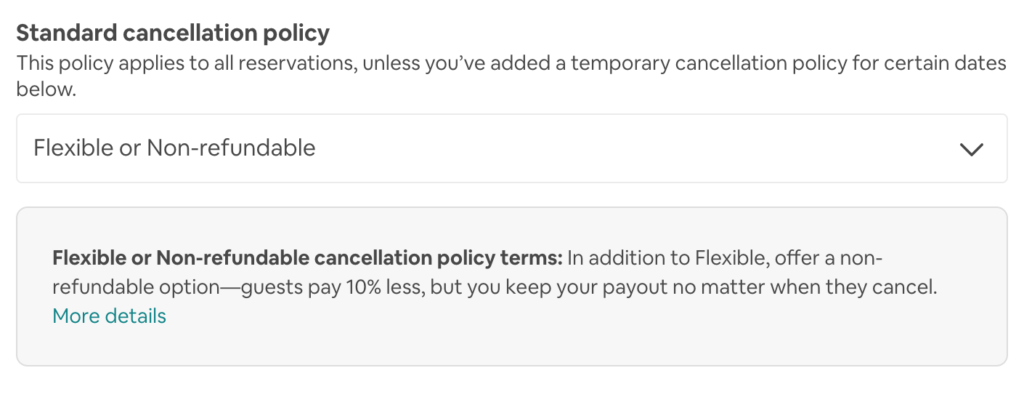 standard cancellation policy