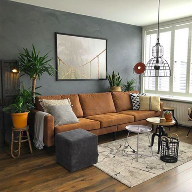 brown couch and rustic design