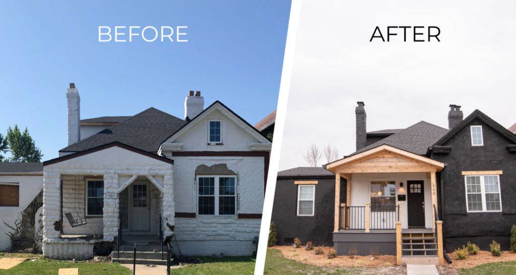Before and after picture of a renovated house