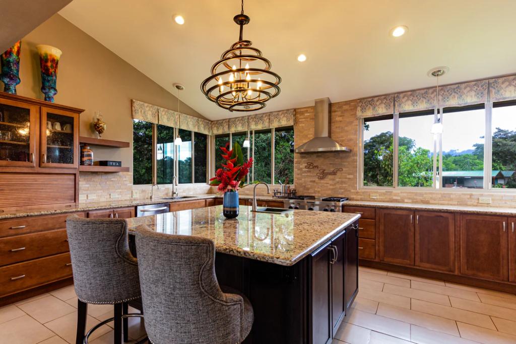 Kitchen island with chandelier