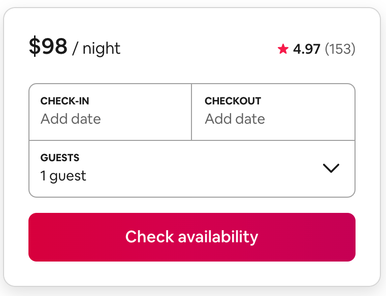 Airbnb scheduling form