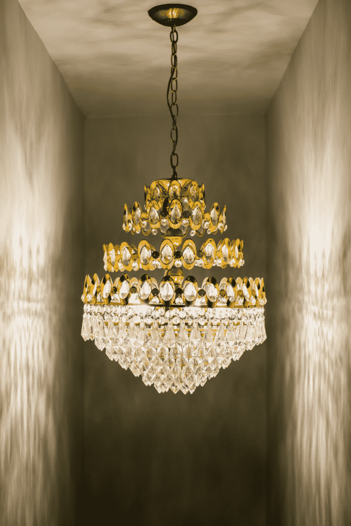 A large crystal and gold chandelier.
