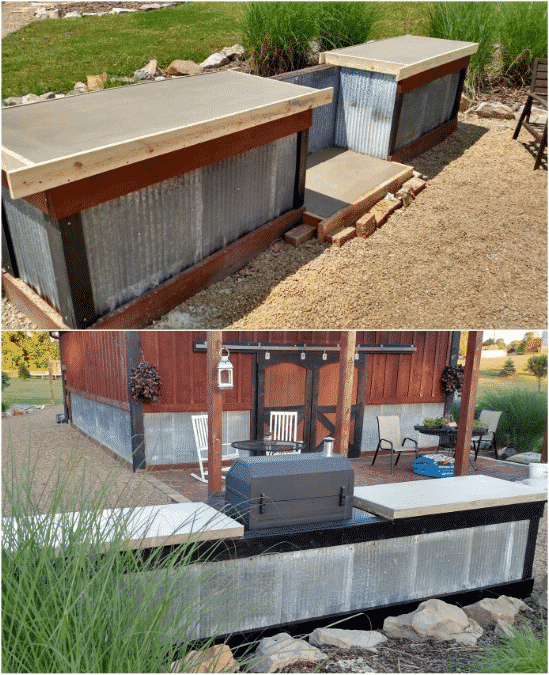 DIY Concrete and Corrugated Steel Outdoor Kitchen