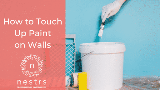 """photo of a paint bucket and brush with the title """"How to Touch Up Paint on Walls"""